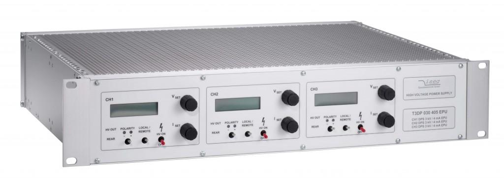 Alimentation haute tension THQ rack 12 W et 60 W serie DPR et CPS et EPS 3 sorties independantes 500 V a 30 kV puissance 10 W et 60 W Iseg