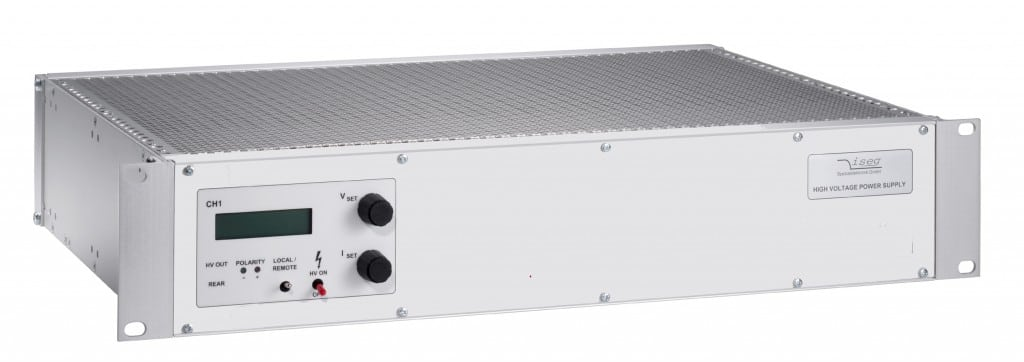 19' rack mount high-voltage THQ power supply unit with 3 channels up to 30 kV and 60 W from Iseg Spezialelektronik GmbH