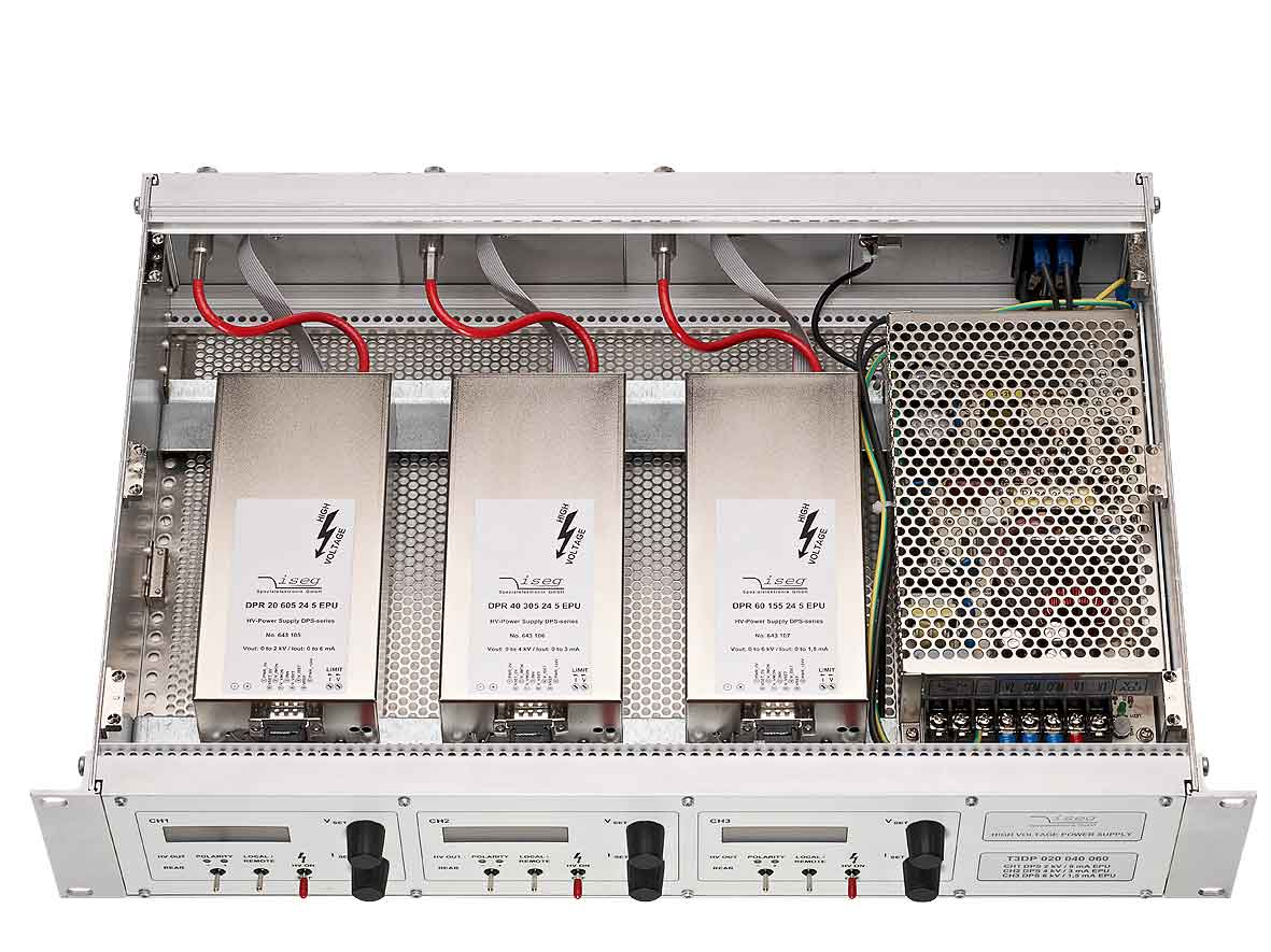 19' rack-mount high-voltage THQ power supply unit with 3 channels up to 30 kV and 60 W from Iseg Spezialelektronik GmbH
