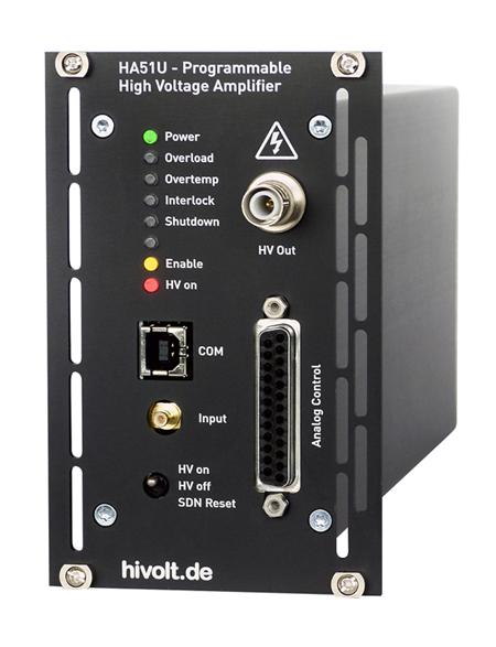 Amplificateur haute tension monovoie HA51U tension 500 V a 6000 V controle SUB-D 9 points LED de surveillance format cassette 3U Hivolt.de
