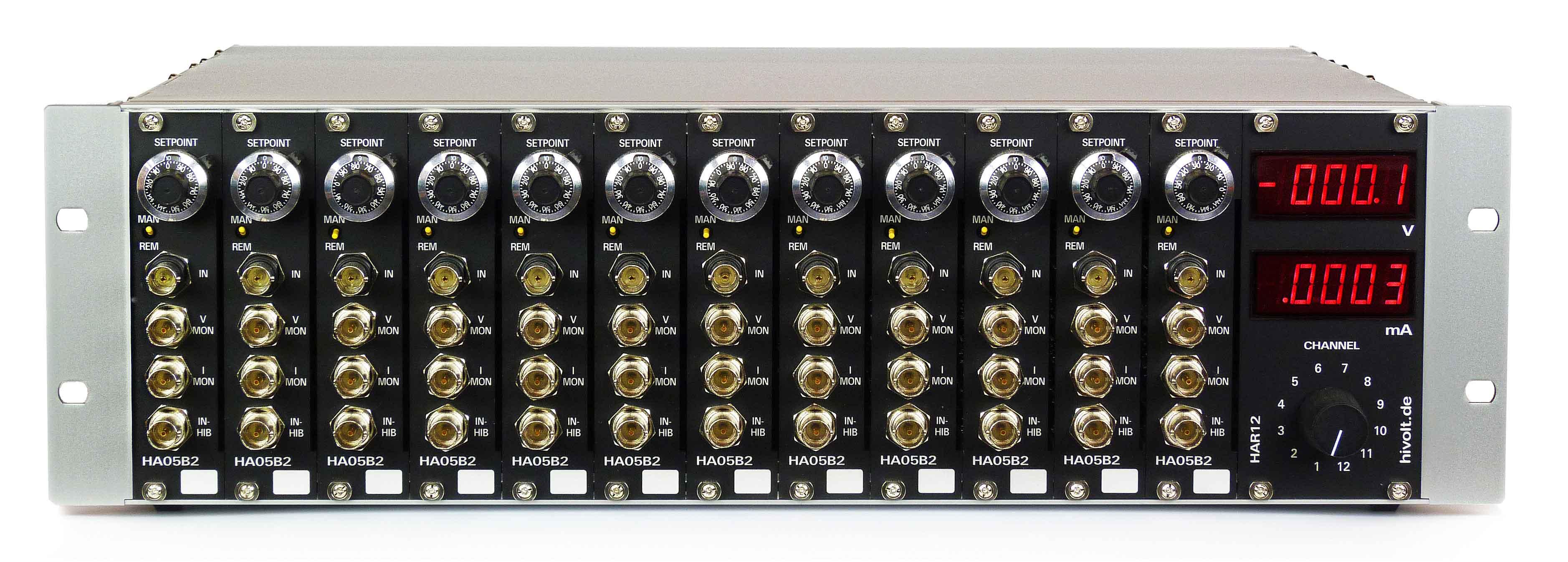 Amplificateur haute tension HAR12, +/- 500 V, multivoies 12 voies, chassis rack standard, reglage potentiometre, affichage digital du courant, Hivolt.de