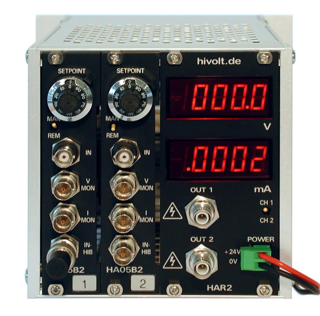 Amplificateur haute tension HAR2 2 voies 500 V avec mini chassis portable et affichage digital potentiometre Hivolt.de