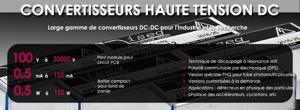 Convertisseur haute tension DC, 100 V à 30 kV, 1 W à 150 W