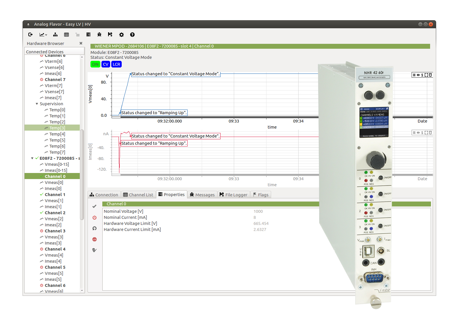 Easy LV HV software avec module NIM haute tension Iseg