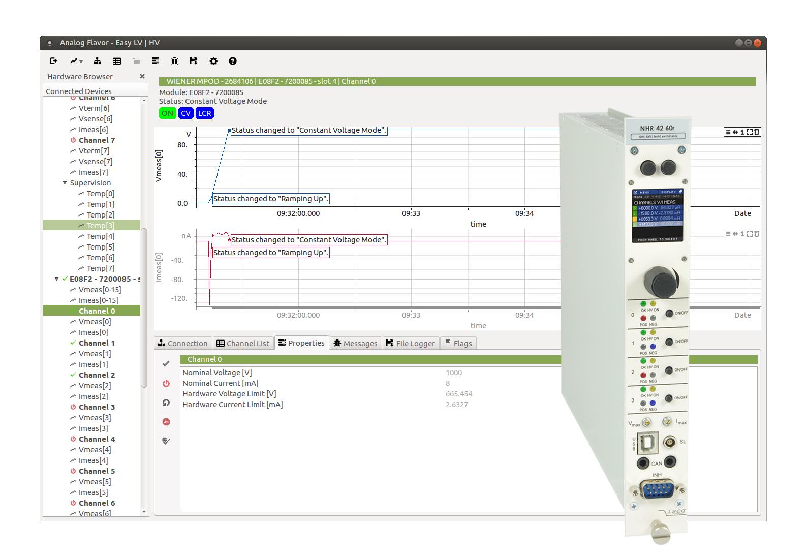 Easy LV HV software avec module NIM haute tension Iseg