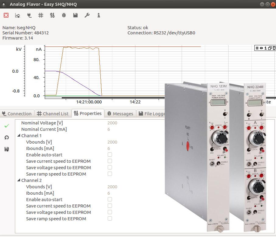 Easy SHQ - NHQ Software avec module NIM haute tension NHQ - ISEG Spezialelektronik GmbH