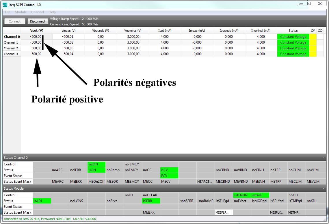 Logiciel isegSCPIcontrol pour le changement de la polarité, positive ou négative
