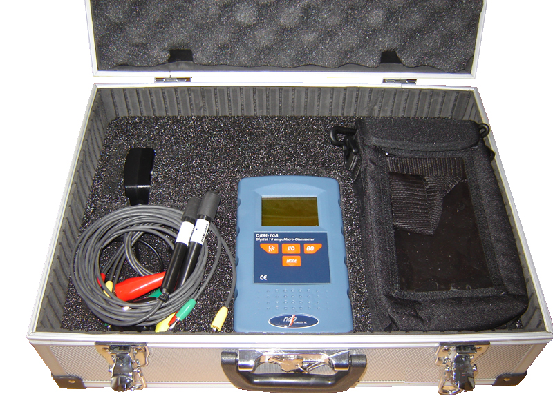 Carrying case for micro ohmmeter and its accessories
