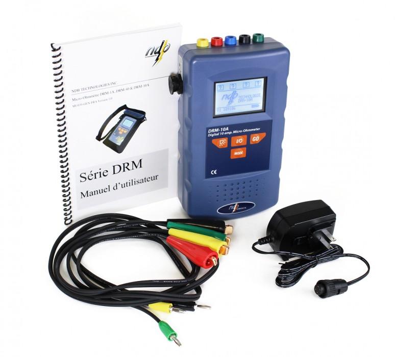 Micro ohmmetre DRM 10 A mesure micro resistance recharge sur batterie secteur NDB Technologie
