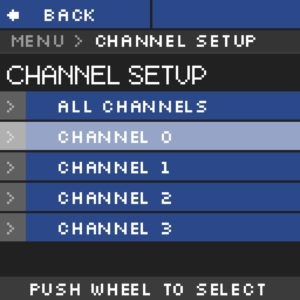 Module haute tension NHR Menu Channelsetup