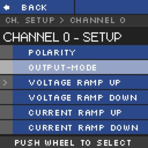 Module haute tension NHR Menu Channel setup Submenu