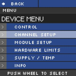 Module haute tension NHR Menu Device