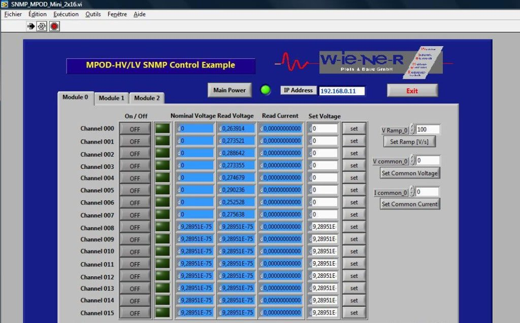 SNMP Labview 16 voies