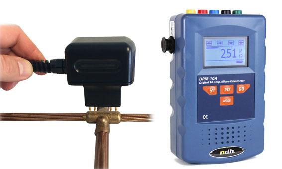 Micro ohmmètre de précision 10 A, 0,01 µOhm résolution,  pour mesure micro résistance en chantier NDB Technologie